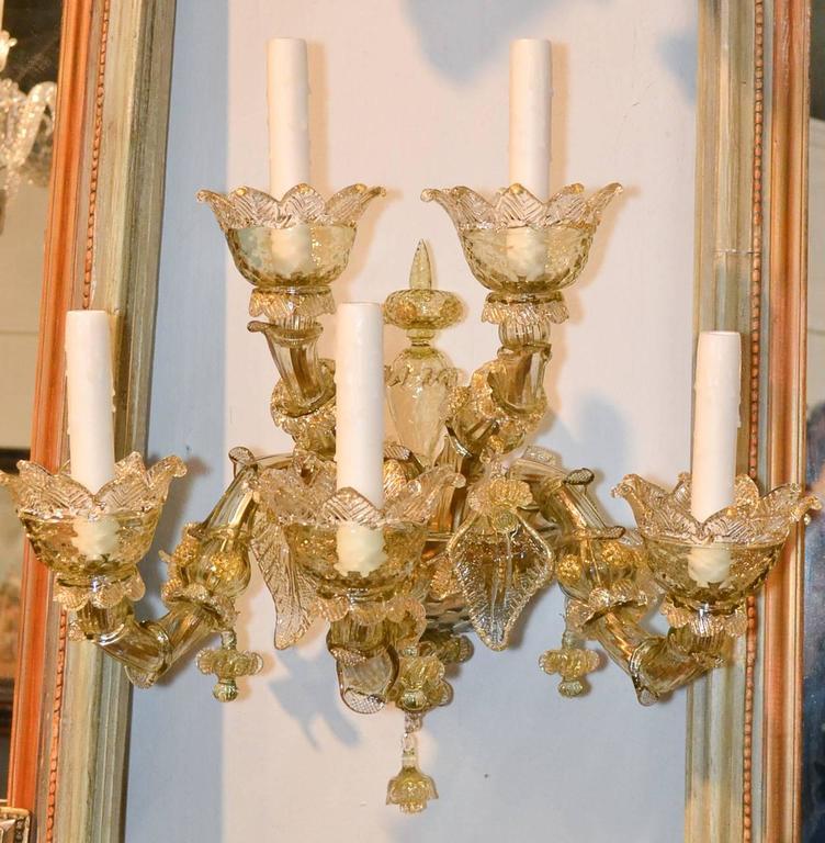 Impressive Pair of Blown Glass Venetian Sconces For Sale 5