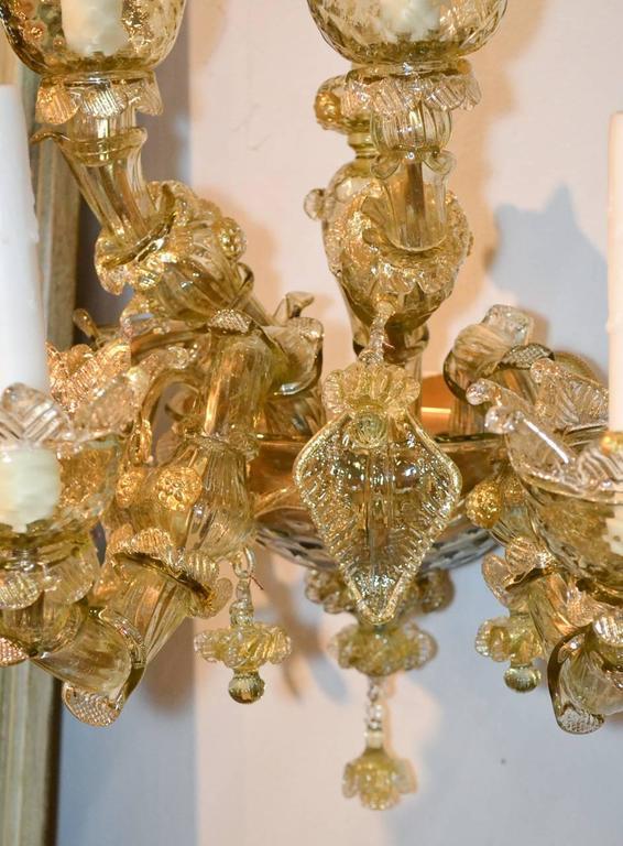 Italian Impressive Pair of Blown Glass Venetian Sconces For Sale