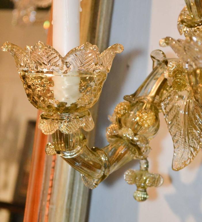Late 20th Century Impressive Pair of Blown Glass Venetian Sconces For Sale
