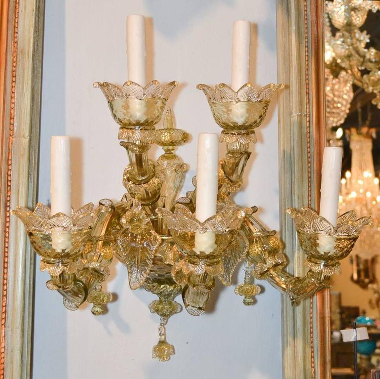 Impressive Pair of Blown Glass Venetian Sconces For Sale 2