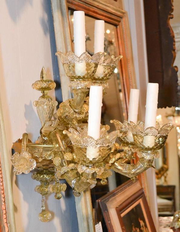Impressive Pair of Blown Glass Venetian Sconces For Sale 4
