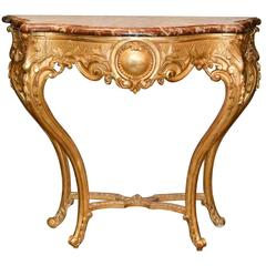 19th Century French Louis XV Giltwood Console