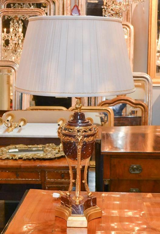 19th Century Pair of French Marble and Bronze Lamps 6