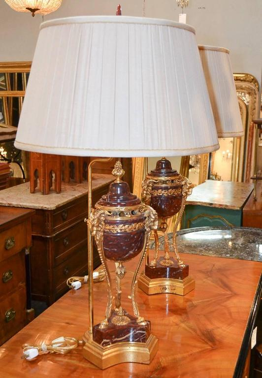 19th Century Pair of French Marble and Bronze Lamps 4
