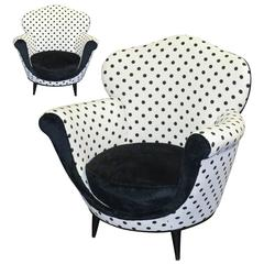 Cool Pair of 1940s Art Deco Armchairs with New Upholstery