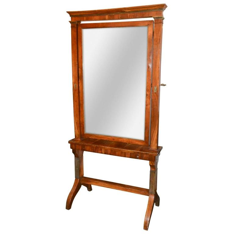 19th Century Directoire Cheval Mirror with Drawer