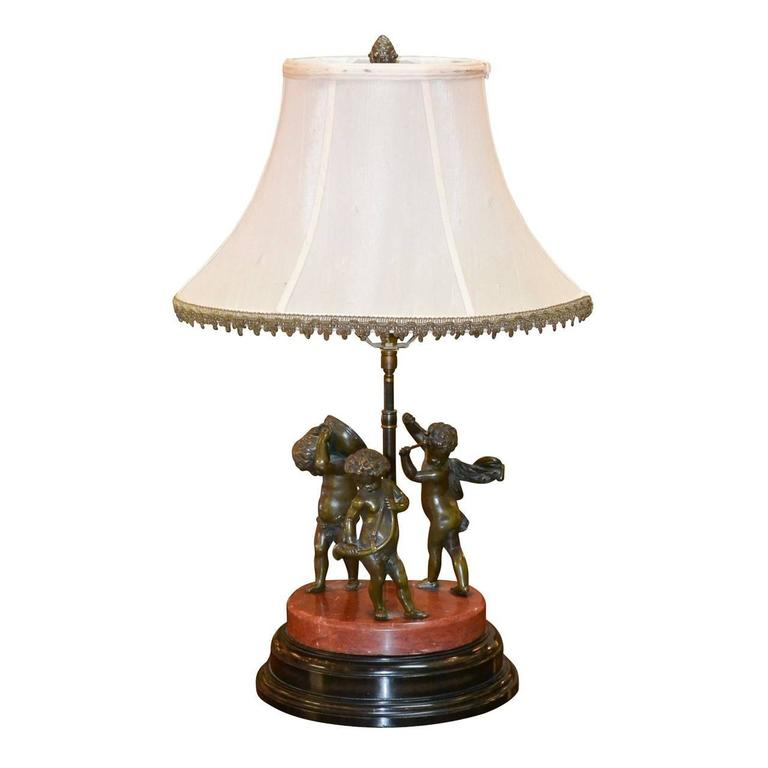 19th Century Bronze Cherub Sculpture Converted to Lamp