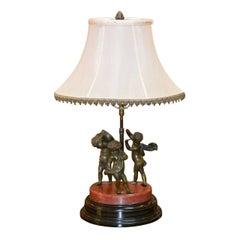 19th Century Bronze Cherub Sculpture Converted to Lamp