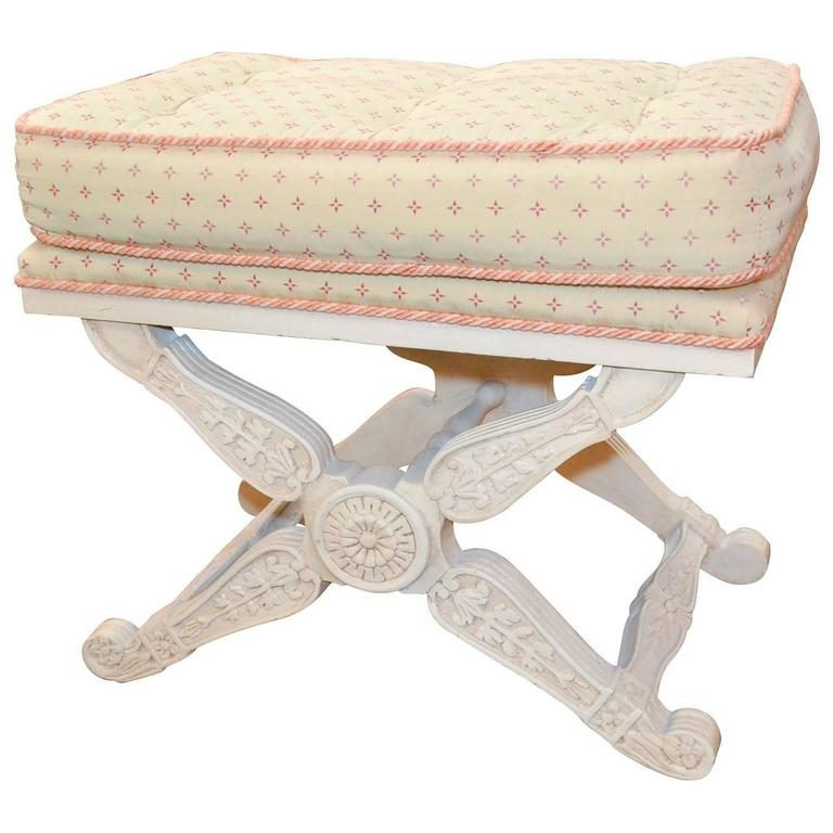 French Louis viii Style X-Stretcher Type Painted Stool