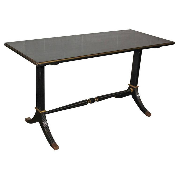 Midcentury Jansen Style Black Lacquered Console or Writing Table