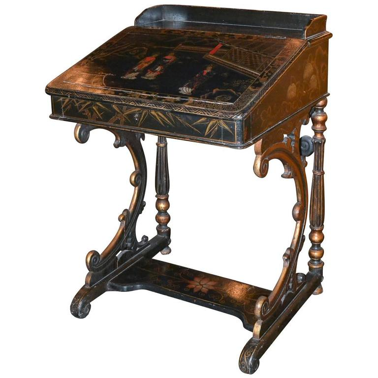 Nice 19th Century English Chinoiserie Davenport Desk