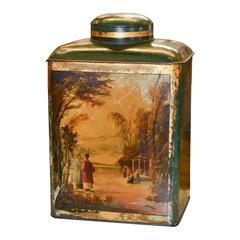 Antique English Tole Hand-Painted Tea Can