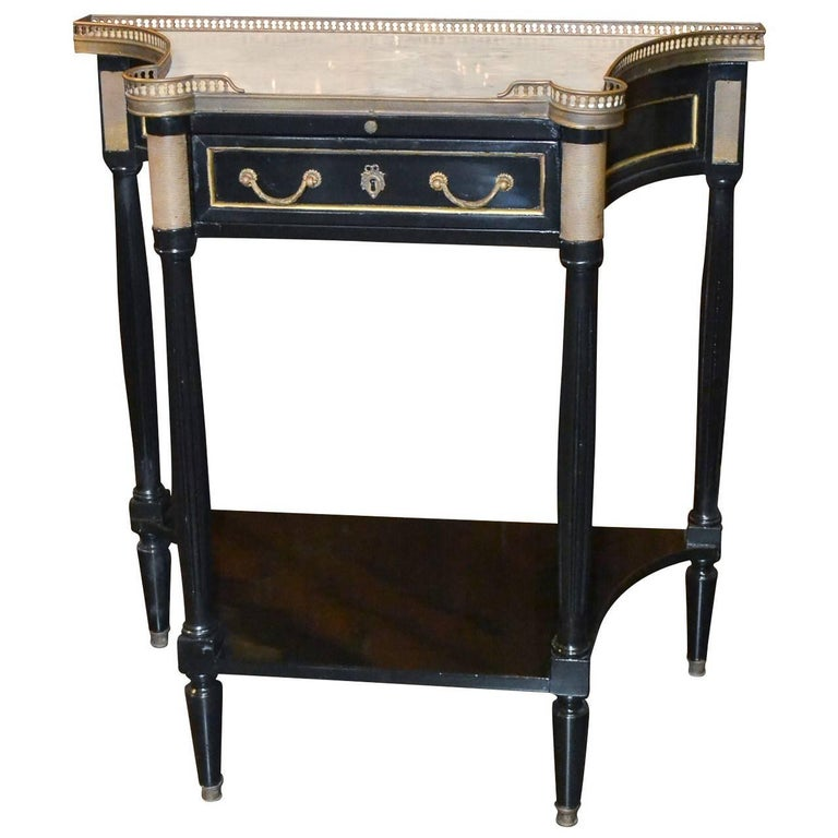 French Midcentury Jansen Style Black Console with Carrara Marble Top