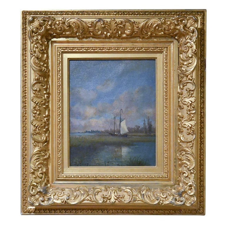 19th Century Signed English Framed Oil on Canvas