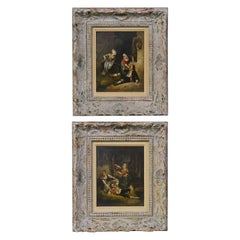 Pair of 19th Century English Framed Oil on Panel Paintings