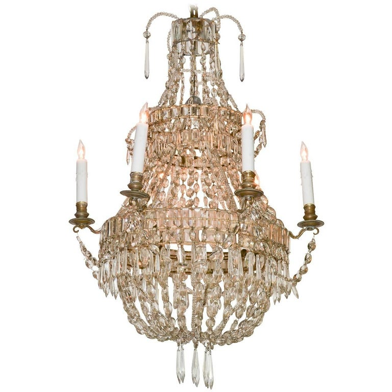 Continental Beaded Crystal Basket Form Chandelier For