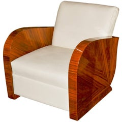 French Art Deco Rosewood Armchair