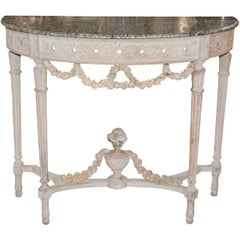 Antique French Louis XVI Painted Console with Marble Top