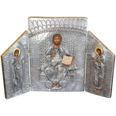 Byzantine Style Greek Eastern Orthodox Handmade Signed Triptych Icon