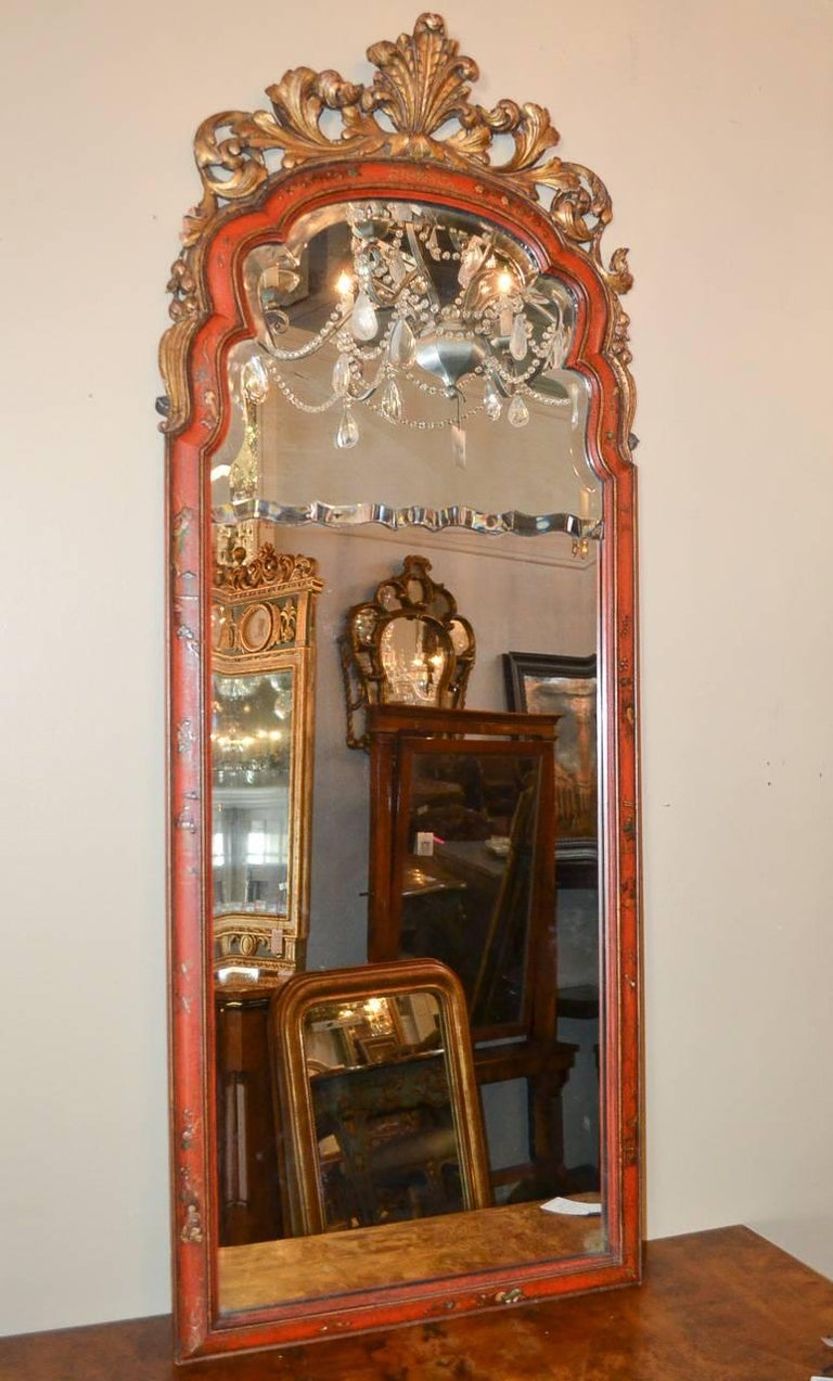 18th Century and Earlier 18th Century English Queen Anne Chinoiserie Mirror For Sale