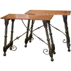 19th Century Pair of Spanish Hall Tables