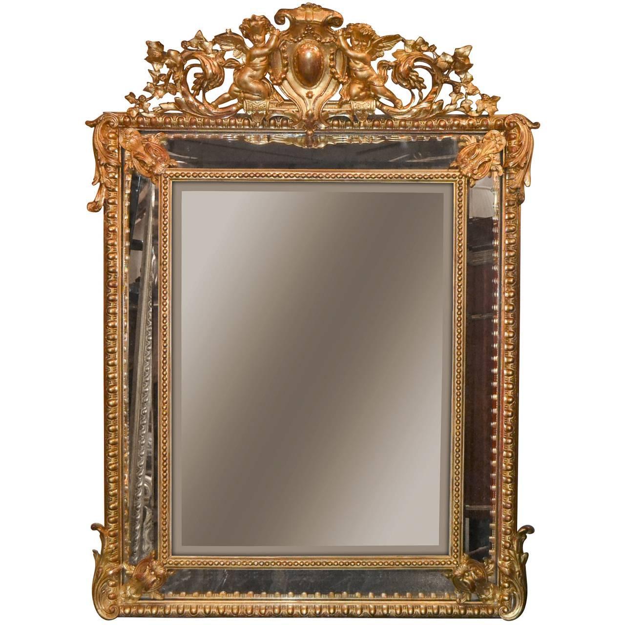 19th Century, French, Louis XV Cushion Mirror