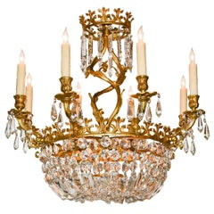 Early 20th Century French Rococo Bronze and Crystal Chandelier
