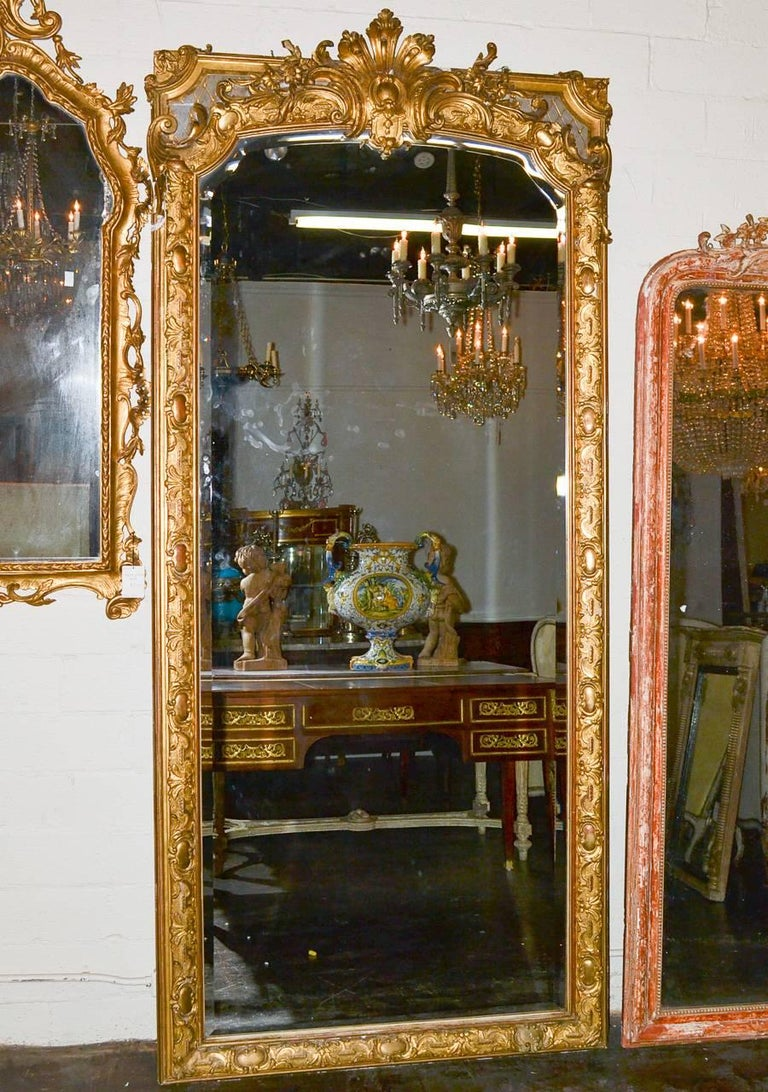 19th Century Palatial French Louis XV Hall Mirror For Sale 1