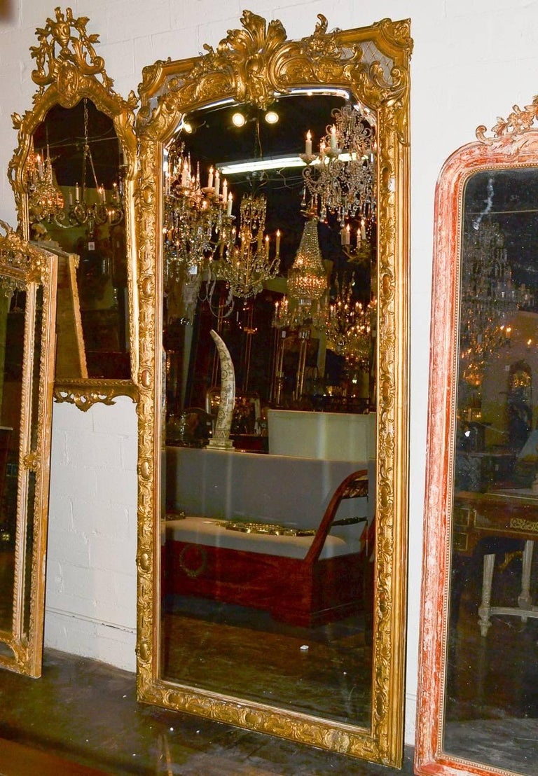 19th Century Palatial French Louis XV Hall Mirror For Sale 3