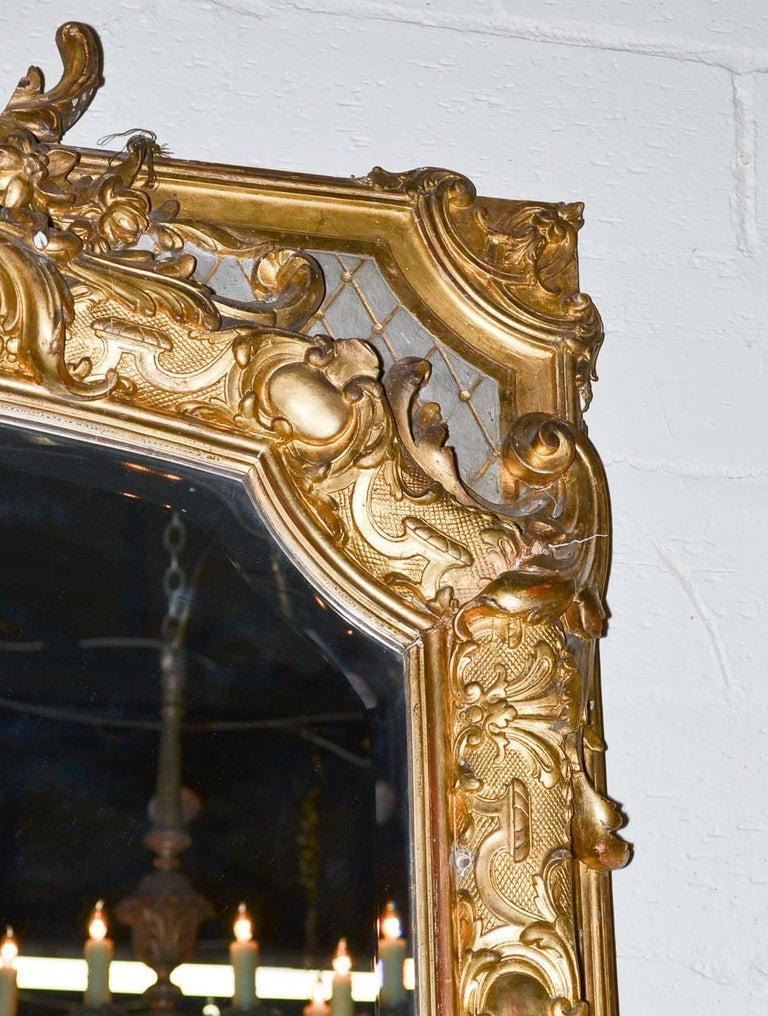 Giltwood 19th Century Palatial French Louis XV Hall Mirror For Sale