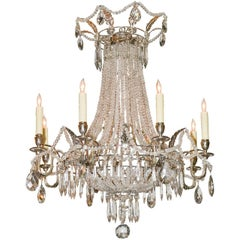 French Beaded and Silver Gilt Basket Form Chandelier