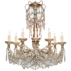 Italian Painted Wood and Crystal Chandelier