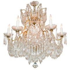 French Crystal Prism Chandelier, circa 1940
