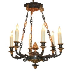 Antique French Two-Tone Bronze Chandelier, circa 1880