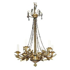 Antique French Gilt Bronze, Wood, and Crystal Chandelier, circa 1890