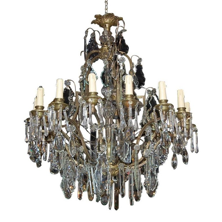 Antique Continental Bronze and Crystal Chandelier, circa 1890