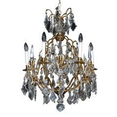 Antique French Gold Gilded and Crystal Chandelier, circa 1900