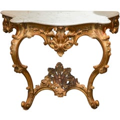Antique French Carved Giltwood Console with Carrara Marble Top, circa 1860