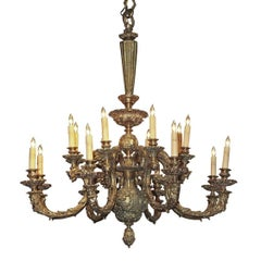 French Embossed Bronze Rococo Style Chandelier