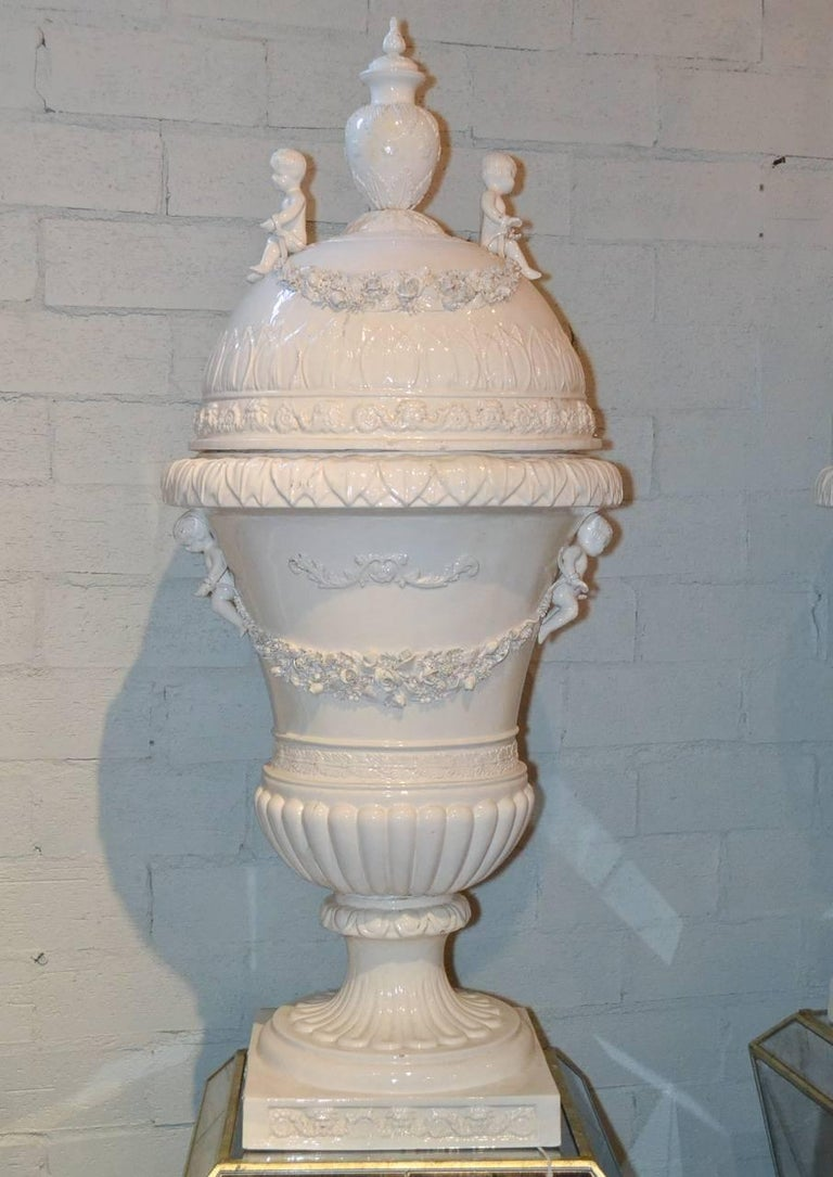 Great Pair of Italian Glazed Porcelain Capped Urns For Sale 4