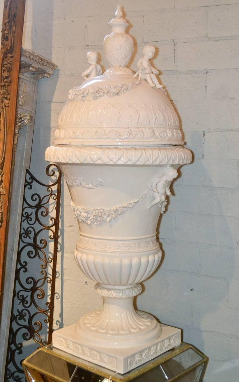 Great Pair of Italian Glazed Porcelain Capped Urns For Sale 3