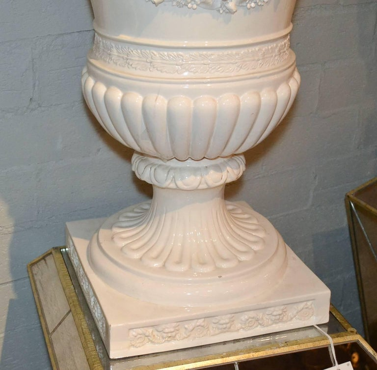 Great Pair of Italian Glazed Porcelain Capped Urns For Sale 2