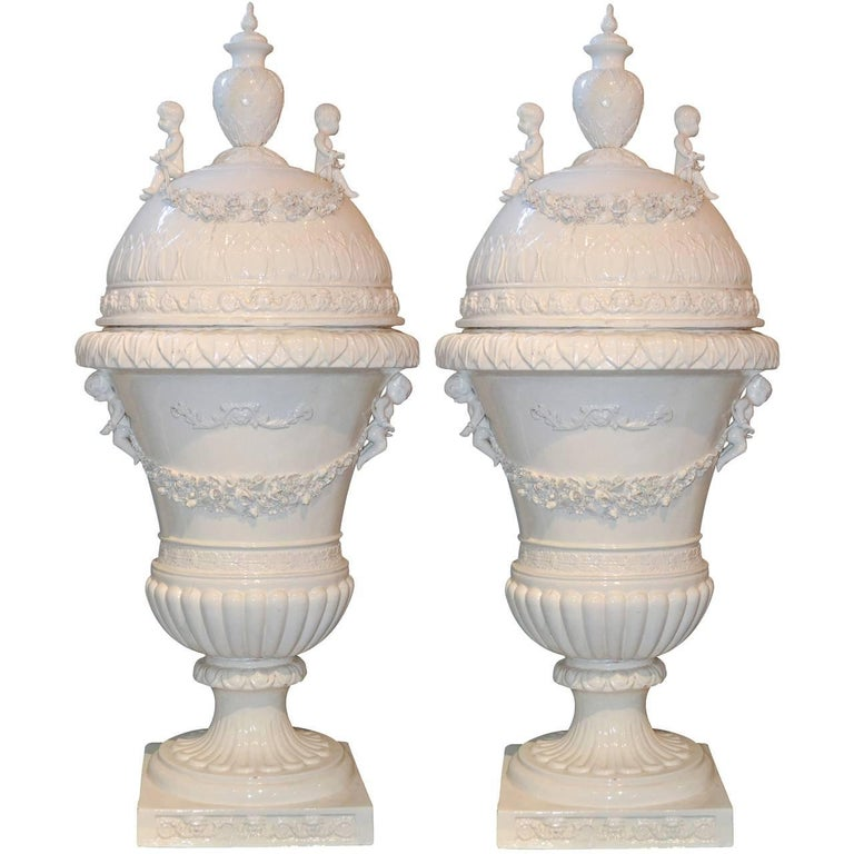 Great Pair of Italian Glazed Porcelain Capped Urns For Sale
