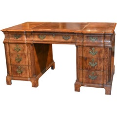 Handsome 19th Century English Burl Walnut Desk