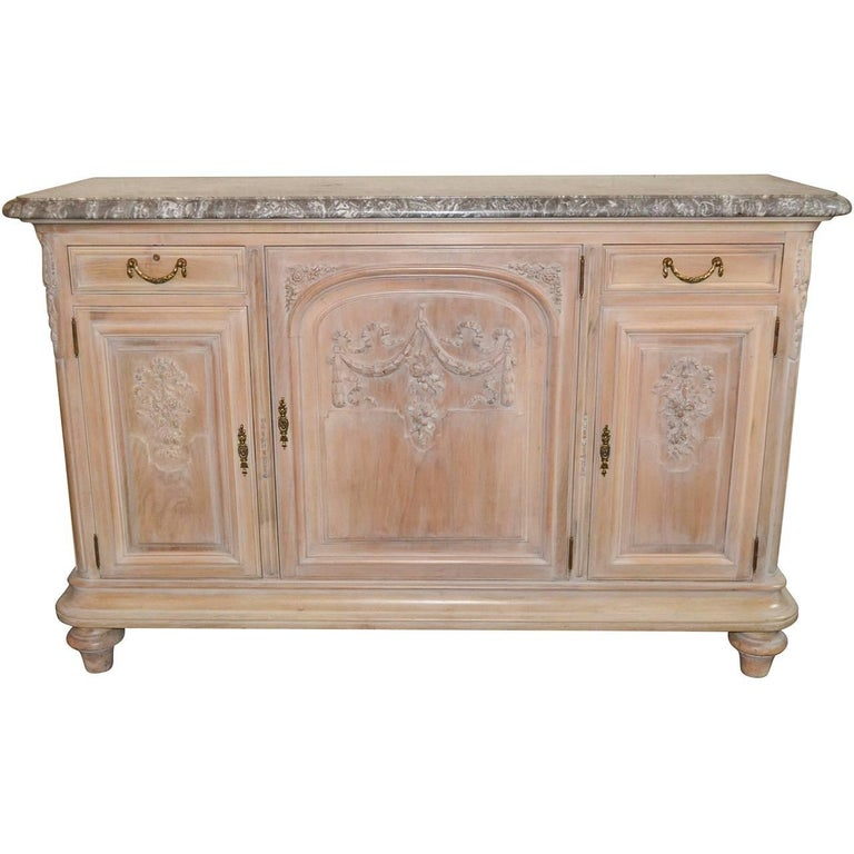19th Century French Bleached and White-Washed Buffet