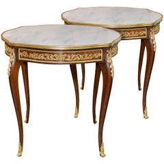 Excellent Pair of French Mahogany Side Tables