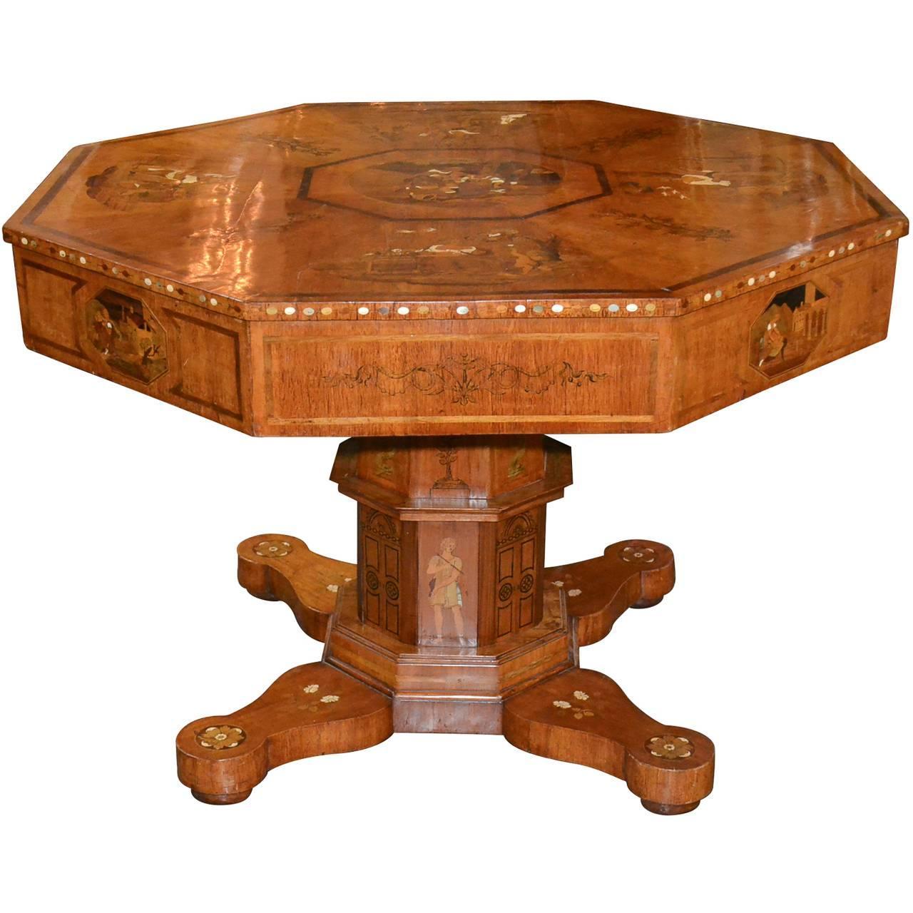 Extraordinary 19th Century Austrian Inlaid Center Table