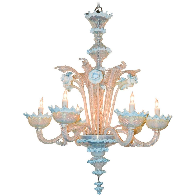 Venetian Opalescent Blue glass Chandelier For Sale at 1stdibs
