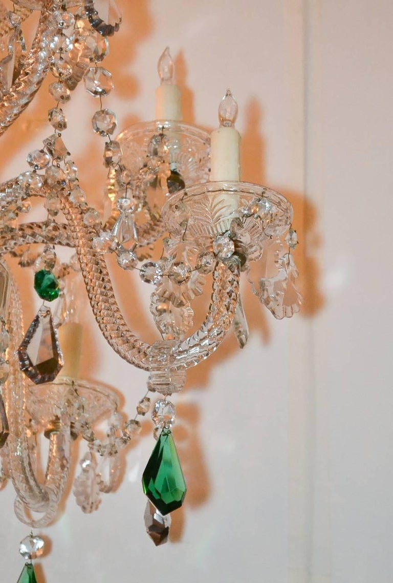 English Crystal Ten-Light Chandelier In Good Condition For Sale In Dallas, TX