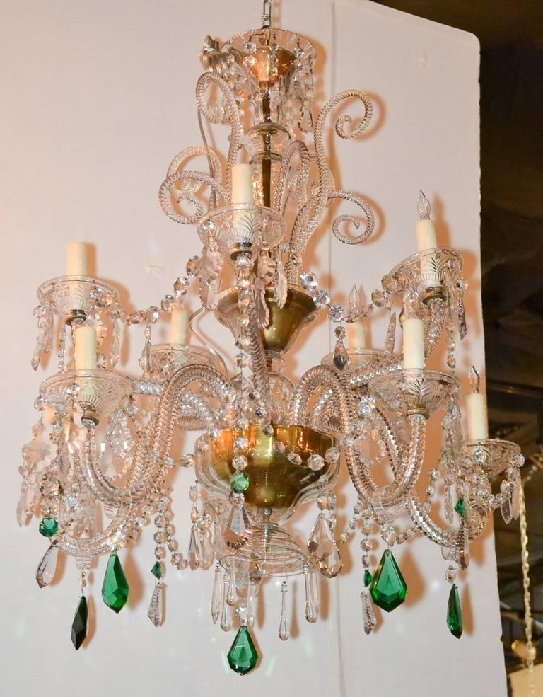 English Crystal Ten-Light Chandelier For Sale 2